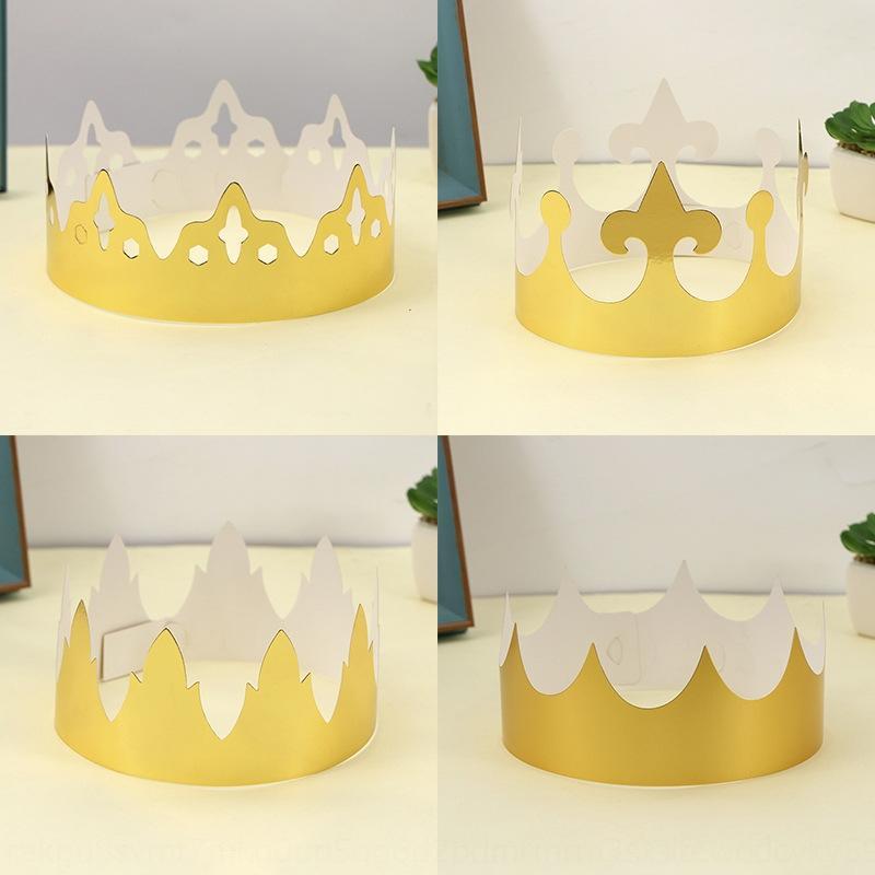 HxhcF Kinderspielzeug Partei Spielzeug Geschenk Hut Partei erwachsen Kuchen Cartoon-Kuchen-Papier-Gold-Karte Krone Hut vPvIw