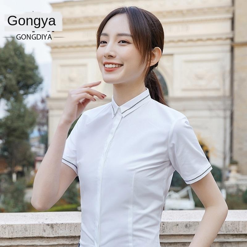 aCMvb 2020 белых женщин с короткой рукавами профессионального OL и износ летом оснастка формальной тонкой одежды рубашка весны бизнес рубашка мода