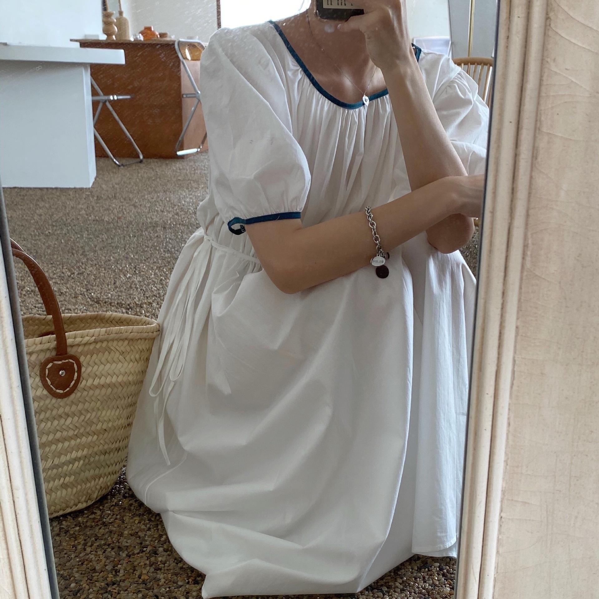 CefSF Французский платье 2020 новый воротник контрастного цвета темперамент средней длины талии Platycodon grandiflorum платье