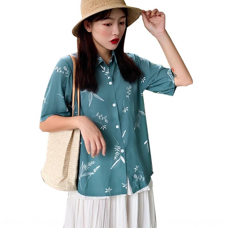bPxJD Verão novo de mangas curtas chiffon camisa do estilo coreano de Mulheres emagrecimento all-jogo solto impressão estudante camisa na moda das mulheres