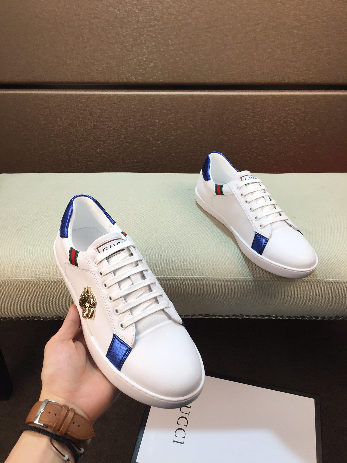 2019q New Men '; S Chaussures de sport, élégant et blanc Chaussures confortables, Chaussures sauvages Low -Top, Boîte emballage d'origine: 38 -44