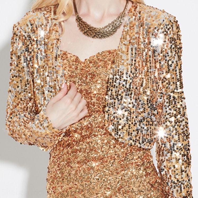 g1zJh adulto de noche con lentejuelas etapa del vestido ropa Escudo de disfraces vestido de noche partido de la manera del funcionamiento ropa de abrigo chaqueta de punto traje corto f
