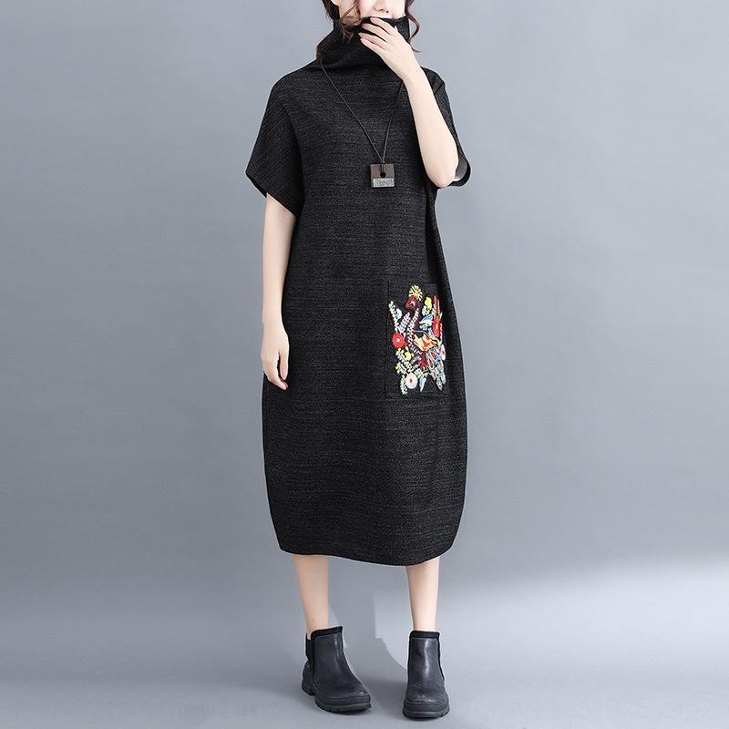 Artística de gran tamaño MM2020 grasa otoño nueva bordado versátil de ropa femenina de Corea ropa de vestir tahTc