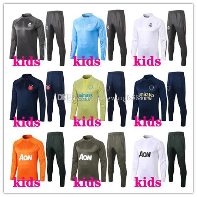 الاطفال 2020 2021 لكرة القدم تدريب دعوى كرة القدم رياضية 20/21 كرة قدم للأطفال رياضية survetement طويلة الأكمام الركض سترة