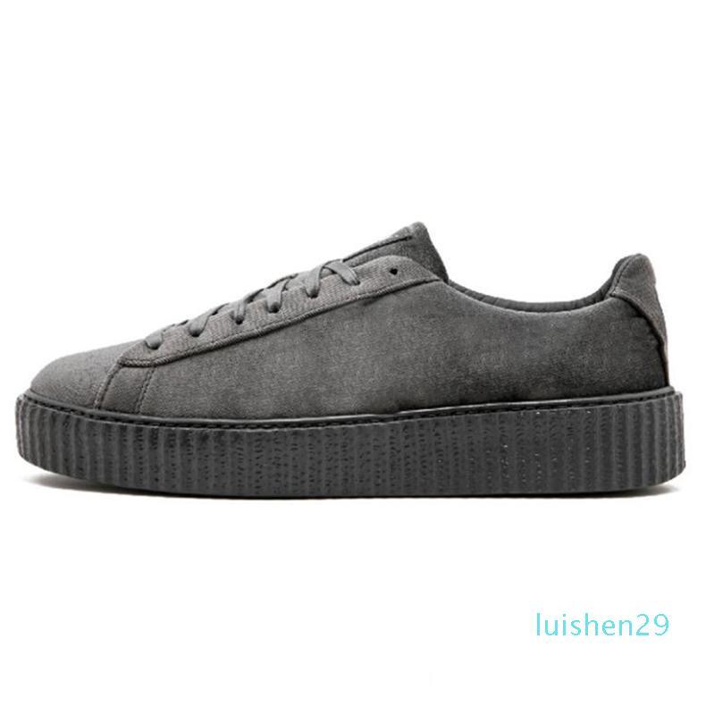 Venda barato PM Rihanna Fenty Creeper 2019 Sneakers de plataforma clássico calçados casuais Velvet Rachado Couro Suede Homens Mulheres do desenhador de moda L29