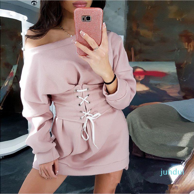 Heißen Verkaufs-Frauen reizvoll weg von dem Schultergurt Mini Damen Langarm Winter-2019 Schnürsystem Mode-Verein-Partei-Kleid-Weinlese