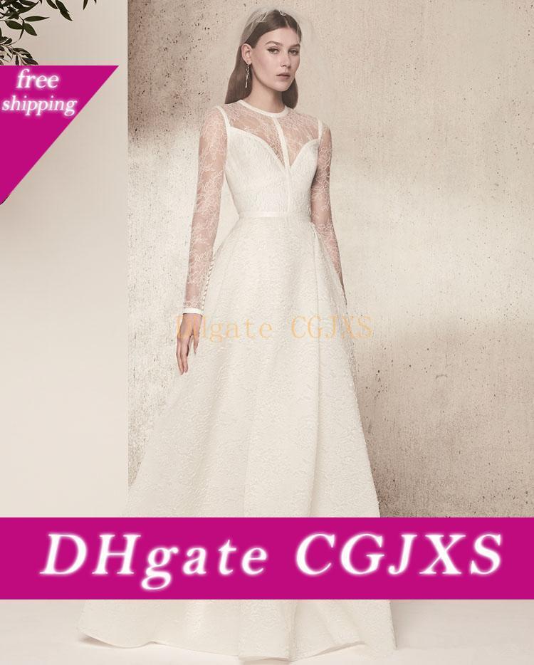Cheia do laço mangas compridas Elie Saab vestidos de casamento simples Summer Beach Sweep Trem vestidos de noiva marfim recepção do vestido de casamento