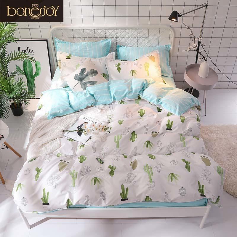 Bonenjoy Green Cactus Queen Size Plant Home Bedding Sheet Single Linen ropa de cama King Bed Set Duvet Cover Y200111