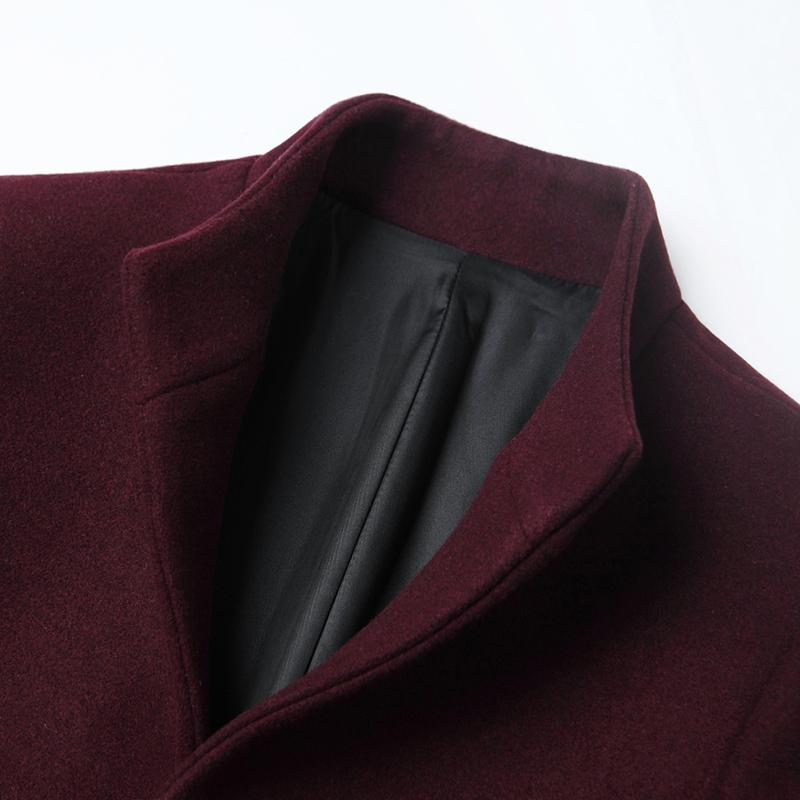 Men Wool Blends Coats Autumn Winter New Solid Color High Quality Mens Wool Jacket Mid-length single-breasted stand-collar coat