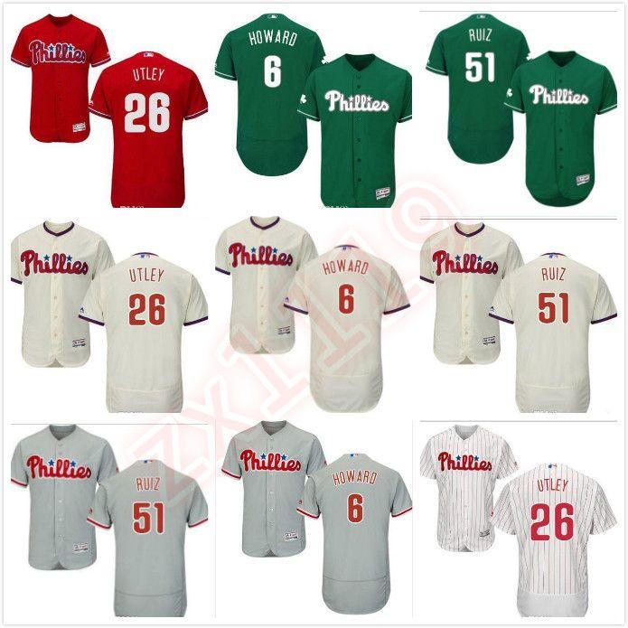 Erkekler kadınlar gençlik Phillies Jersey 6. Ryan Howard 26 Chase Utley 51 Carlos Ruiz Ana Kırmızı Siyah Gri Beyaz Çocuk Kız Beyzbol Formalar