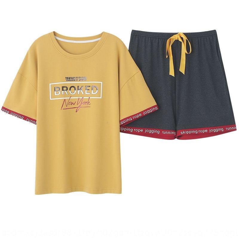 DAiWW Pamuk ev kadın bahar ve yaz ince gevşek pijama erkekler için büyük boy kısa kollu pamuklu çift aşınma gençlik pijama
