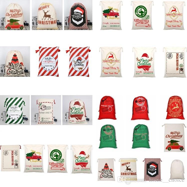 Festliche 39style Leinwand Sankt Sacks Weihnachtsgeschenk Taschen Tragetasche mit Rentieren Weihnachtsmann-Sack-Beutel Weihnachten Geschenke Weihnachtsschmuck