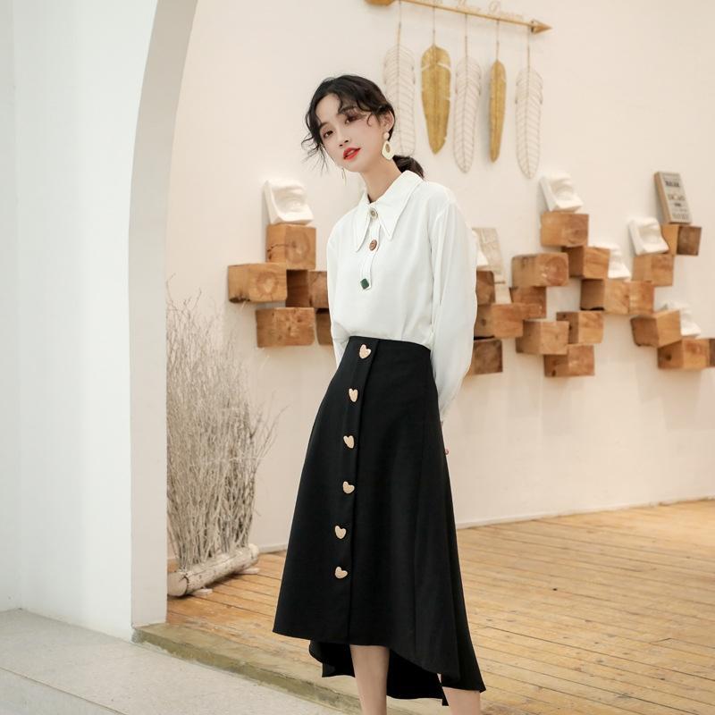 Fransız batı tarzı Beyaz gömlek iki parçalı etek kadın sonbahar 2019 yeni beyaz gömlek yarım uzunlukta etek yaş azaltıcı moda elbise