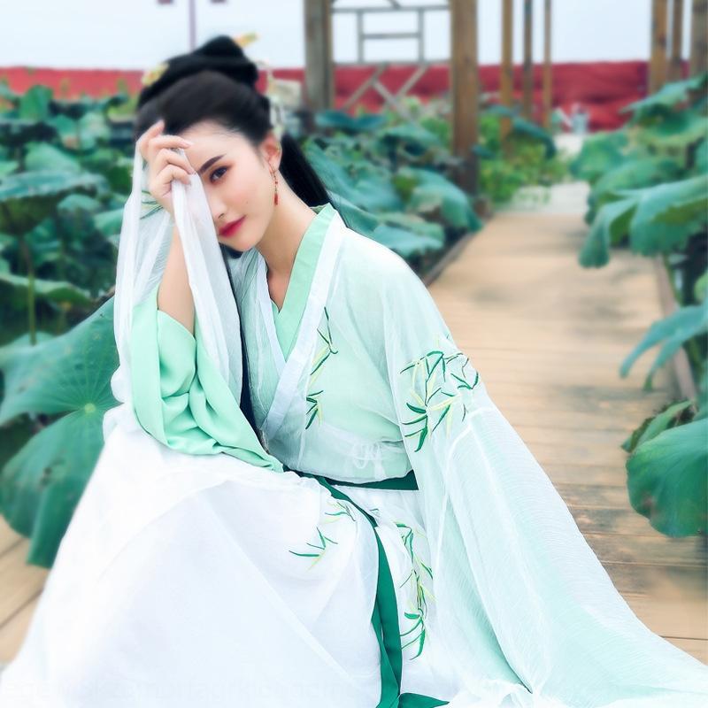 yw9Os cEslZ 2020 resorte y la camisa del hueso Jinfeng recta de una sola prenda de manga larga grandes Linjiang otoño lea vestuario antiguo traje de hadas de un bambú