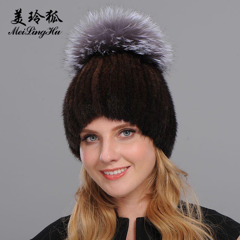 Марка Толстые Женщины Шляпы Real Hat Girl моды зимы новые трикотажные шапочки Cap с мехом Pom Poms ombrero