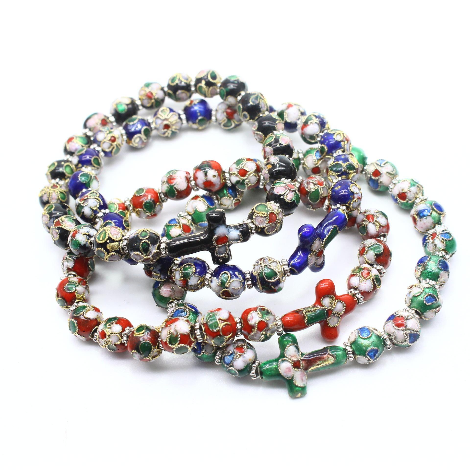 Christian Hand Made Cloisonnées Perles Bracelets de perles élastique corde croix Bracelet Jésus Religion Accessoires de cadeau de Noël