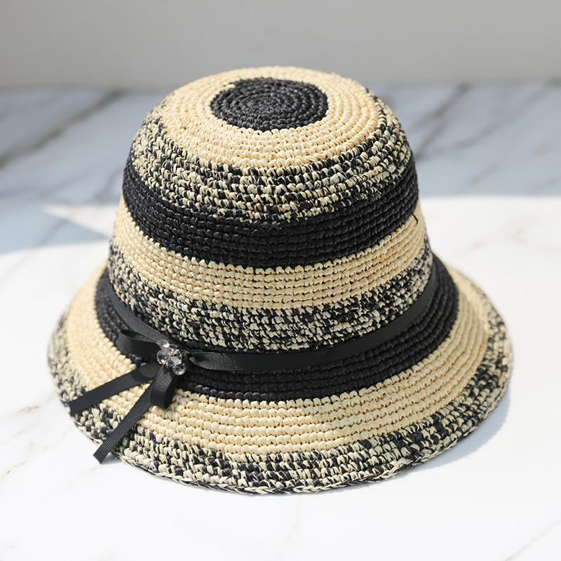 Sedancasesa 100% Рафия соломы шлемов Sun для женщин завод дамы отдыха Бич лето соломенной шляпе Складная крючком Короткие Брим Полоски