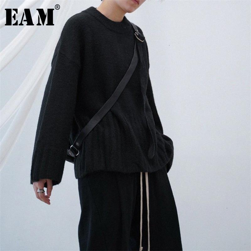 [EAM] Negro partido del tamaño grande de tejer suéter de cuello redondo Loose Fit de manga larga de las nuevas mujeres Tide otoño invierno 2019 1H037 OH4b #