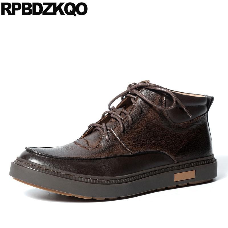 2020 натуральной кожа коричневой полное зерно обуви коротких пинетки комфортно осень осени зима мужчины сапоги с меховыми плоскими зашнуровать черный