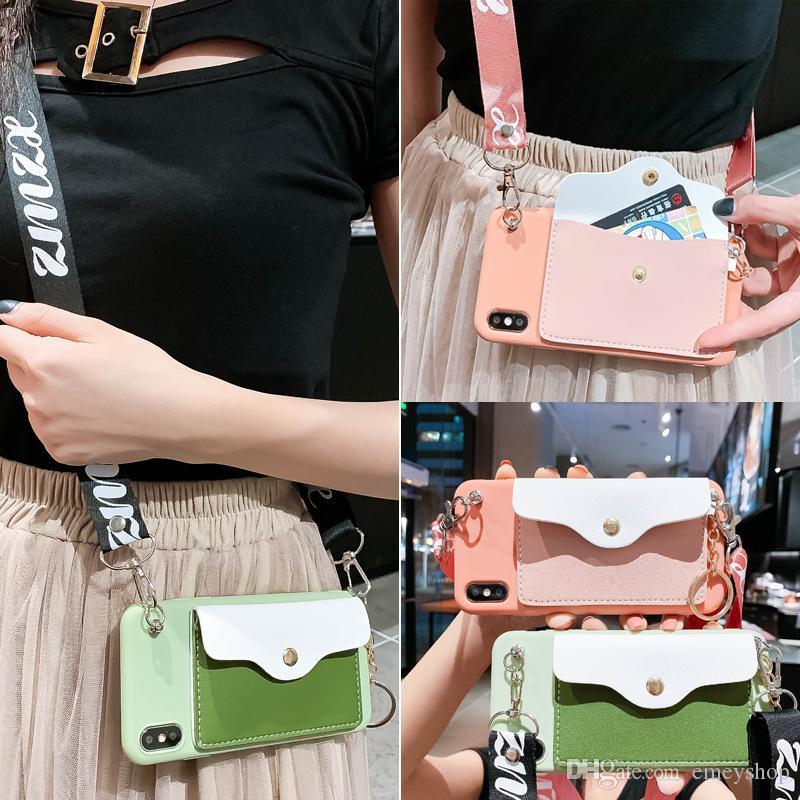 bonito carteira cartão de suporte titular caso cordão de silicone bom telefone de luxo para iphone X XR XS MAX 6S 7 8 vantagem para iphone11 tampa traseira