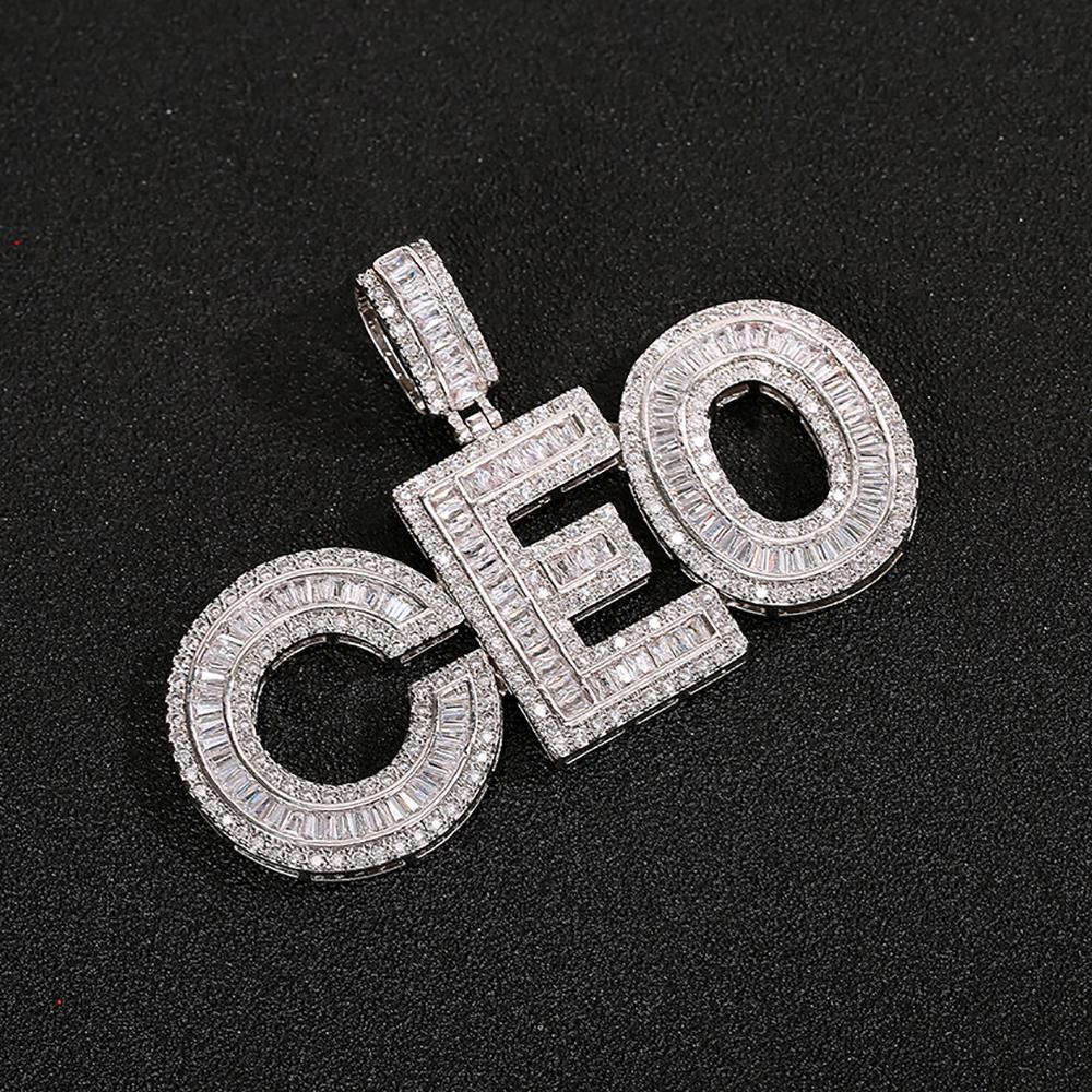 Custom Name Baguettes Letters Pendant With Free Rope Chain Gold Silver Bling Zirconia Men Hip Hop Pendant Jewelry
