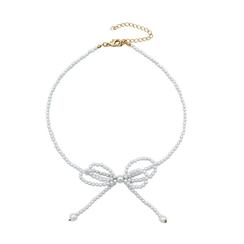 Korean East Gate hand-woven pearl necklace bow choker