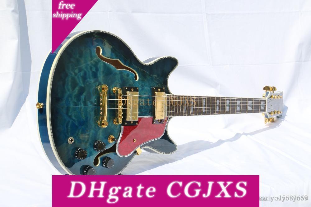 Semi -Hollow тело ватного Maple Top гитара Электрогитара Оборудование Golden Tortoise гитара, персонализированная Льготная служба