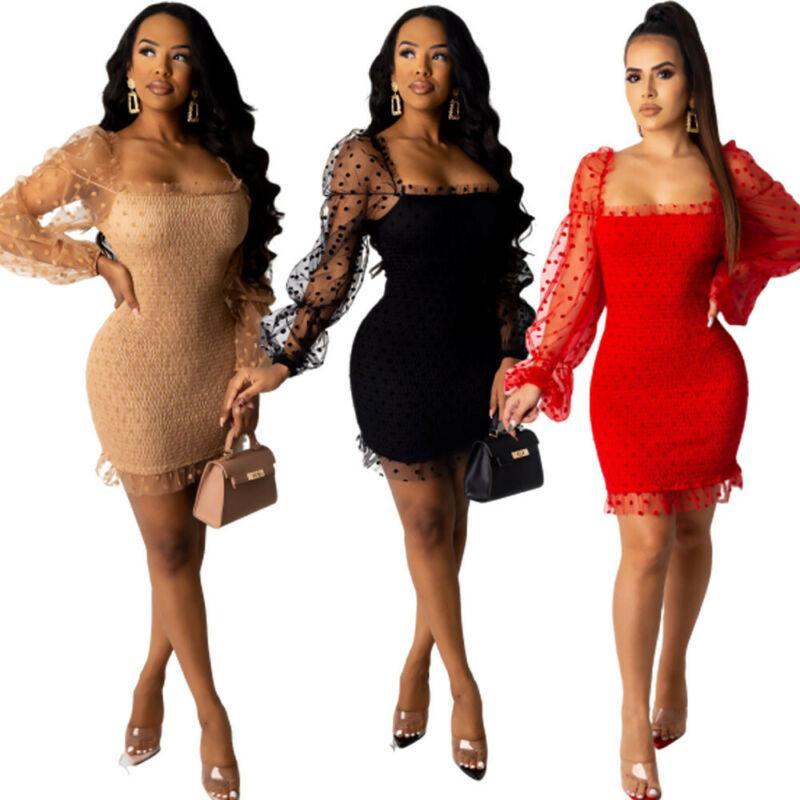 Vestido de la manera mujeres del lunar de la tarde del partido del vendaje de Bodycon del club del mini vestido de Clubwear Vestidos femeninos elegantes vestidos de malla