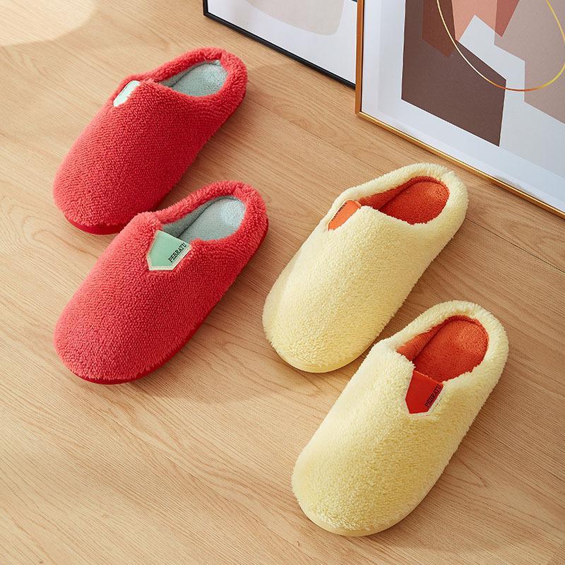 2020 Kış Yeni Kadınlar Ev Terlik Kapalı Moda Katı Renk Sıcak Kürk Terlik Yatak Odası Aşıklar Çiftler Kat Ayakkabı Yumuşak Kaymaz
