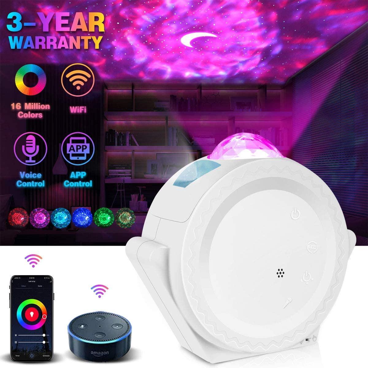 WiFi Yıldız Gece Lambası Galaxy Projektörü Ile Çalışır Alexa Google Home 16M Renkli Yıldızlı Akıllı Yıldız Projektör Işık Ile APP Ses Kontrolü