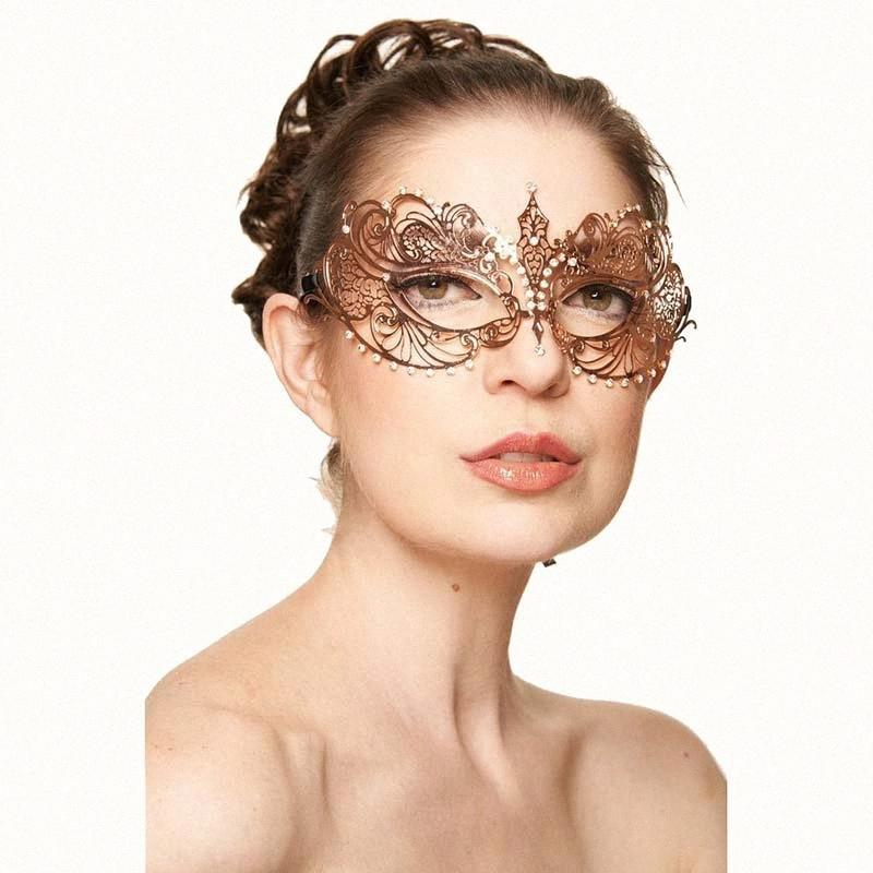 Elegante Rosen-Goldmetall Filigree Venetian Laser-Schnitt-Karneval-Maskerade-Maske Karneval-Prom Hochzeit Ball-Masken Frauen WCnj #