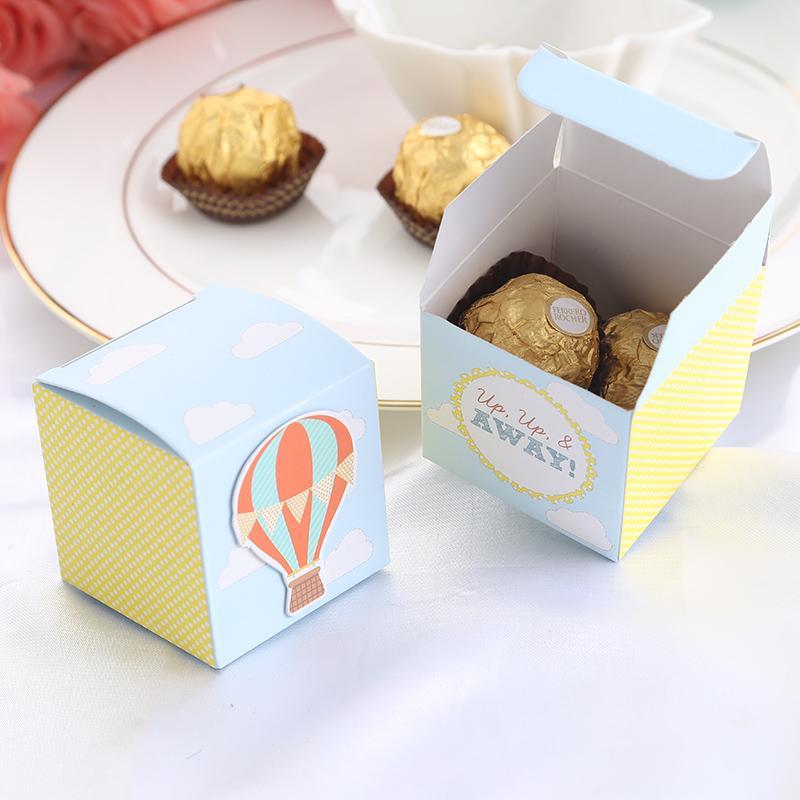 Papier Ballon à air chaud Bonbonnière faveur de baby shower boîte nouveau style de fête d'anniversaire cadeau pour garçon et fille 12pcs