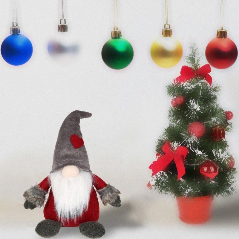 Svedese peluche a mano di Santa bambola Gnome scandinava Tomte Nordic Nisse Sockerbit Elf Nano casa Ornamenti di Natale Babbo qEor #