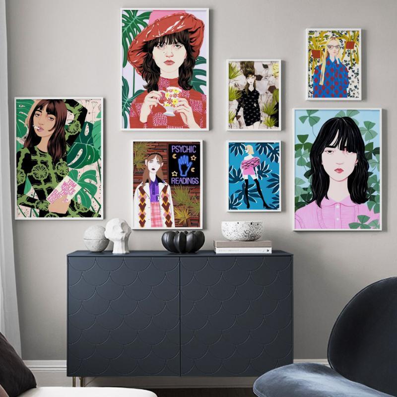 Mode Modren Mädchen Pflanze Retro Vintage Wand-Kunst-Leinwand-Malerei Nordic Poster und Drucke Wandbilder für Wohnzimmer-Dekor