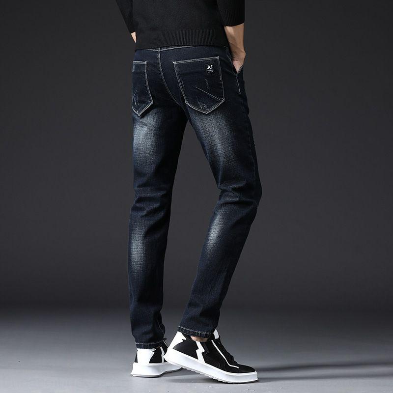 15vdQ Новые джинсы мужские Приталенный мужской стиль Корейский Tight модно узкие брюки брюки стрейч молодежные черные леггинсы