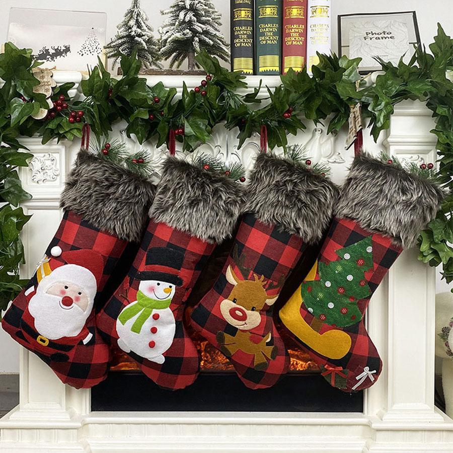Юла Санта-Клауса подарок мешок рождественские носки подарок мешок рождественские украшения покрывают кулон Elk елки клетчатую ткань