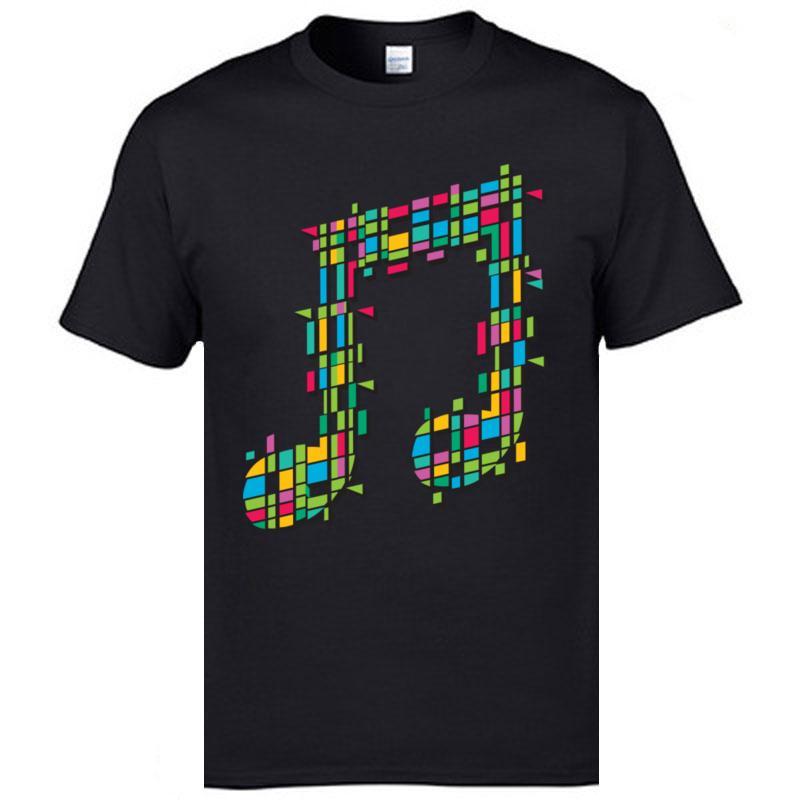 Haute qualité Nouveau T-shirt surdimensionné col rond 100% coton T-shirt des hommes T-shirts musique colorée note Imprimé
