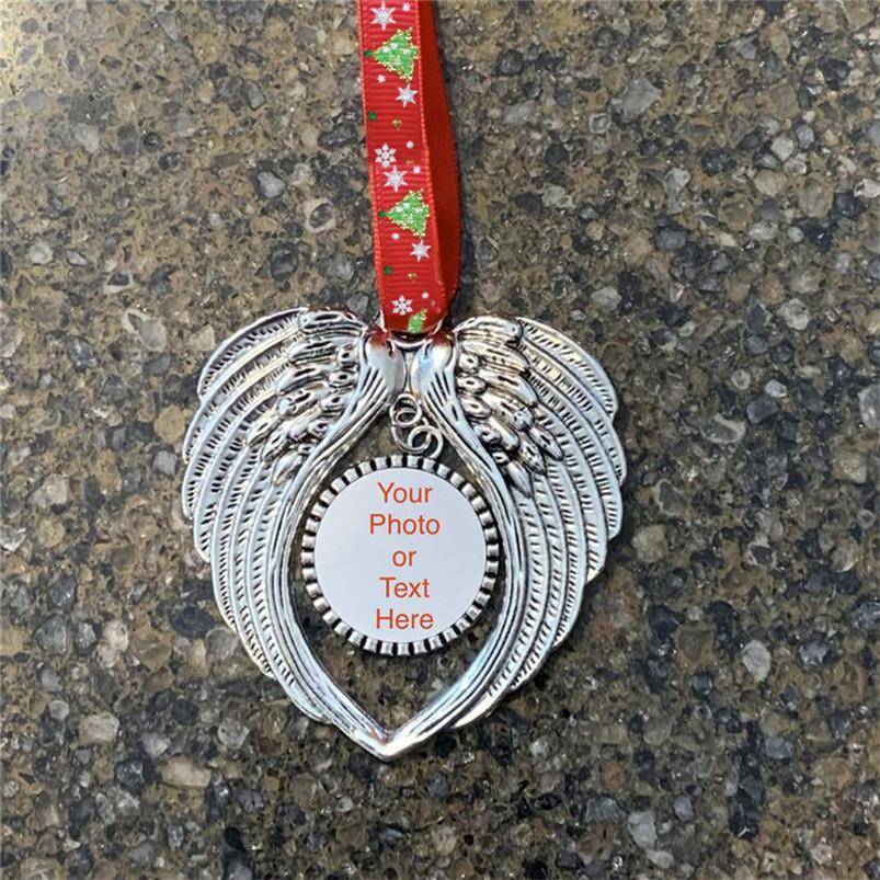 Weihnachtsverzierung-Dekorationen DIY-Engels-Flügel-Form-Blank Fügen Sie Ihr eigenes Bild und Hintergrund Weihnachten Pendent Charms F92401