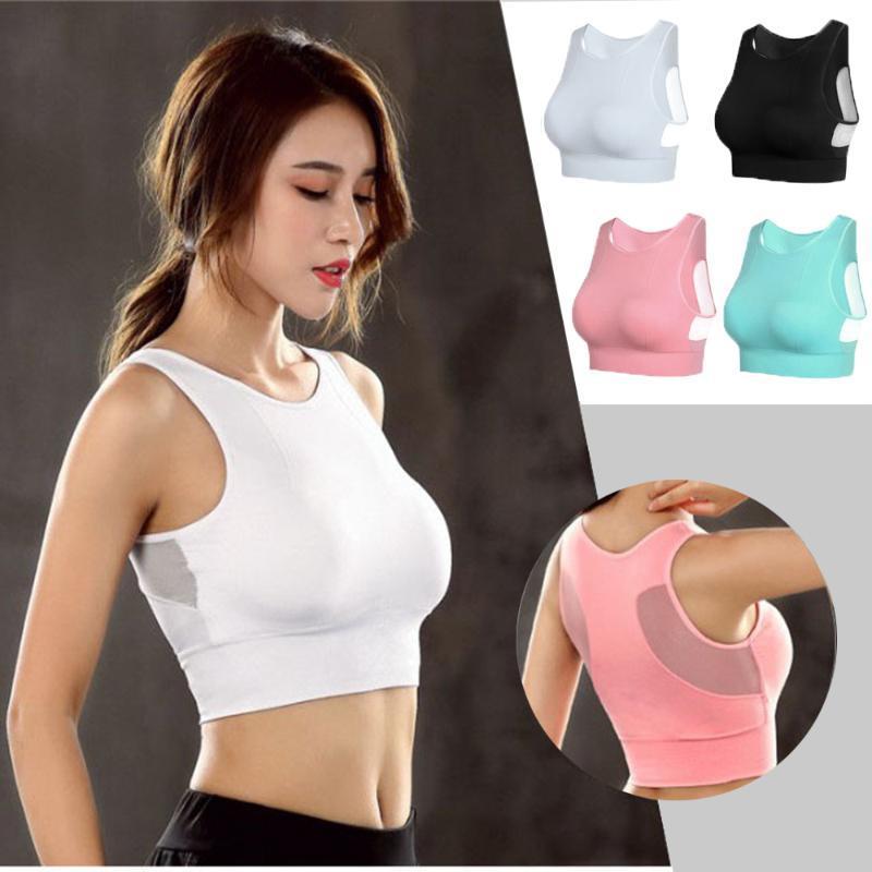 Nouveau solide Couleur respirante transparente Femmes Sport Bra Sous-vêtements anti-choc Athletic matelassée Courir Yoga Gym Fitness Gilet Mesh Tank
