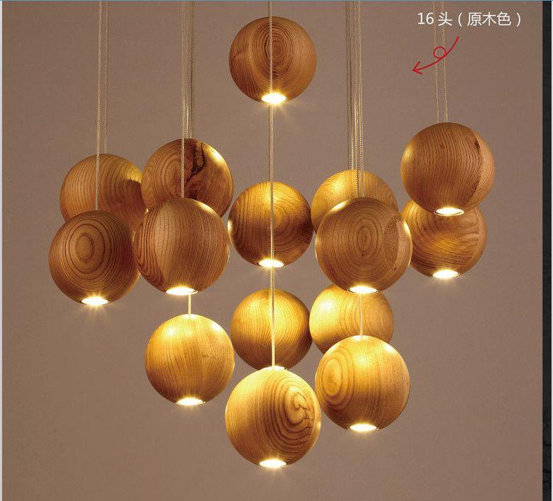 2019 Горячая Твердая древесина люстра современная китайская японская Нордик творческая минималистский гостиная столовая три Одинарные деревянные лампы