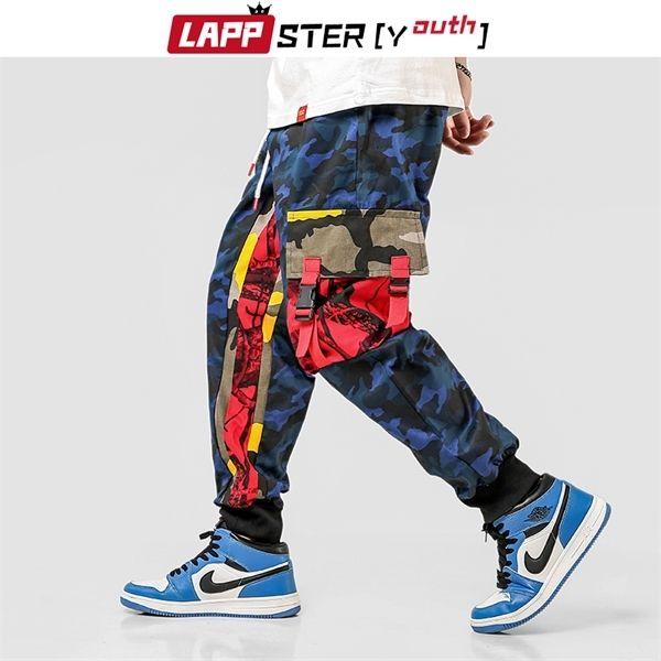 LAPPSTER-Youth Camo Cargo Pants Men 2020 Overalls Mens Baggy Color Block Hip Hop Joggers Big Pockets Blue Sweatpants Plus Size