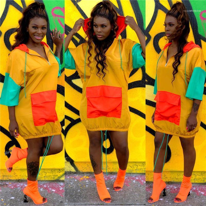 Kleid Damenmode Panelled Kleidung mit Packet-Kontrast-Farben Designer beiläufigen Frauen Kleider lose Kordelzug Kapuze