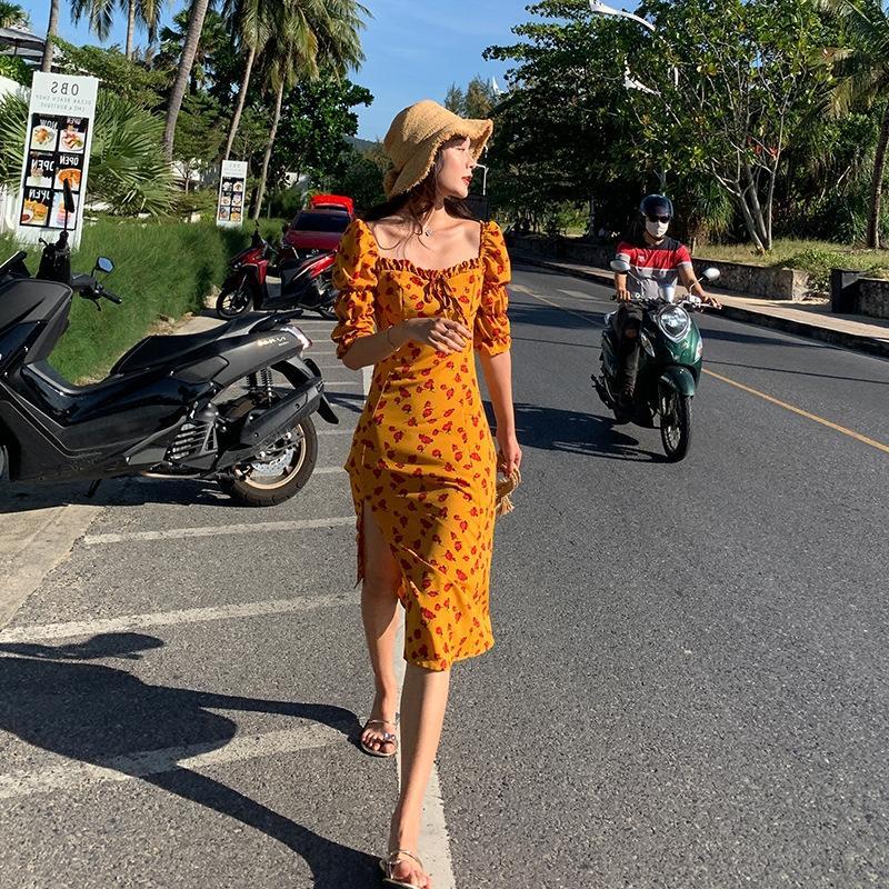 gO91l 5aJS3 grande taille Français super de ventre jupe en mousseline de soie robe d'été des femmes fleur robe nouvelle fée minceur style occidental couvrant fl