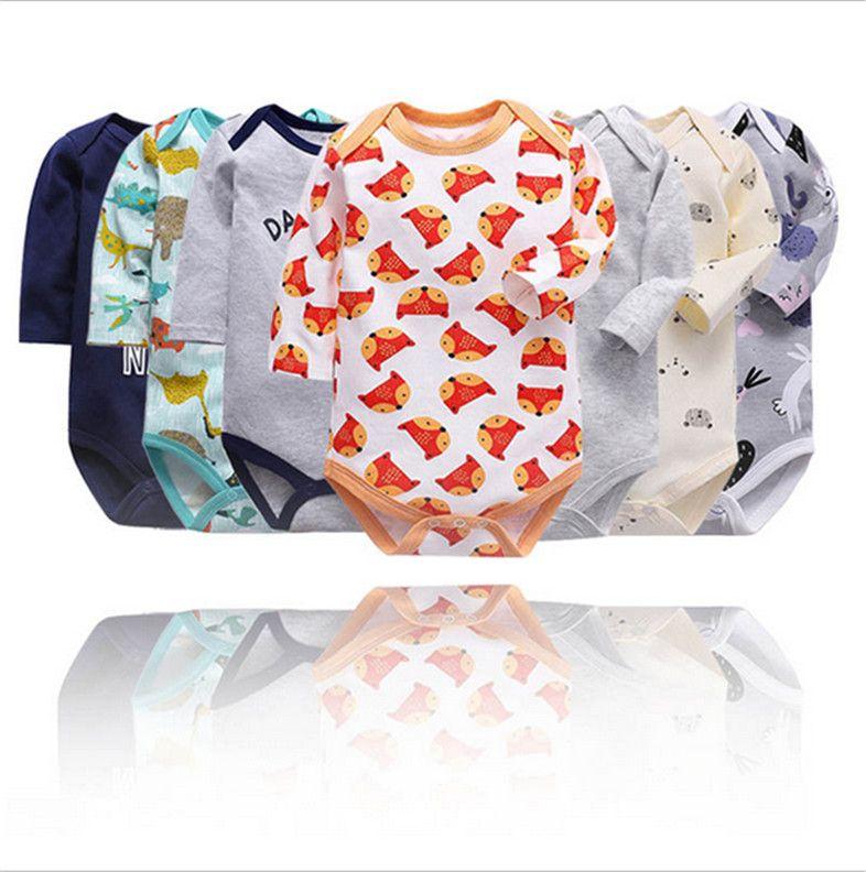 Bebê recém-nascidos dos desenhos animados da criança jumpsuit de mangas compridas romper animais bonitos impressão de roupas de algodão curtas meninos playsuit meninas E8602 geral pano