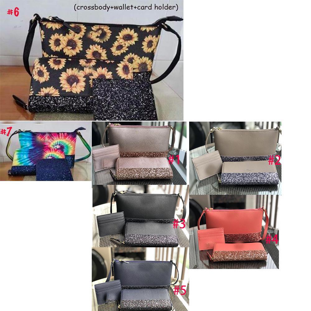 Mulheres de girassol couro impressão bolsa de ombro crossbody Laço designer de corante Handbag brilho girassol carteira cartão do vintage 3pc / set bolsa de ombro