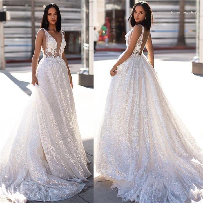 Frauen mit V-Ausschnitt Brautkleid Spitze aushöhlen Backless Sleeveless weiße Tulle Kleider Famale Pailletten Rollier Langes Kleid