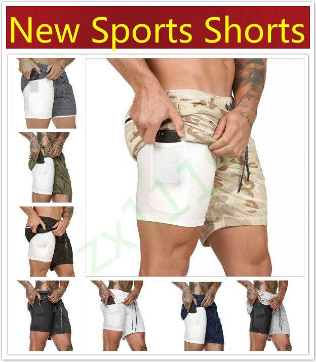 Yeni Erkekler Spor Spor Salonu Sıkıştırma Telefonu Cep Baz Tabakası Kısa Kısa Pantolon Atletik Katı Tayt Şort Çalışan Pantolon