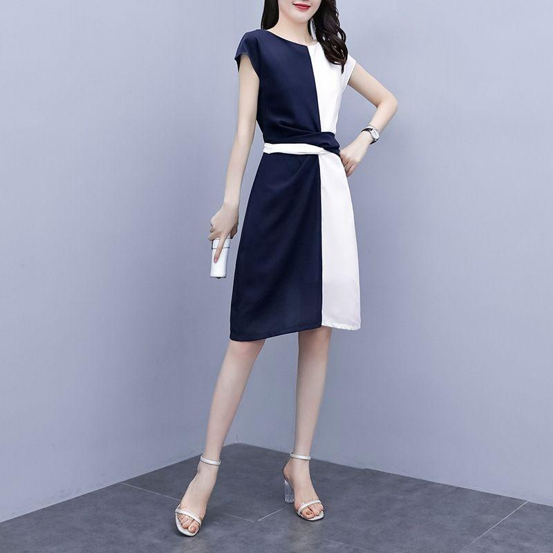 2020 neue Bauch deckend Kleid der großen Frauen modisch Alter mindernde versteckt Fleisch abnehmen Fett Schwester Kleid mittellange Vzmi2