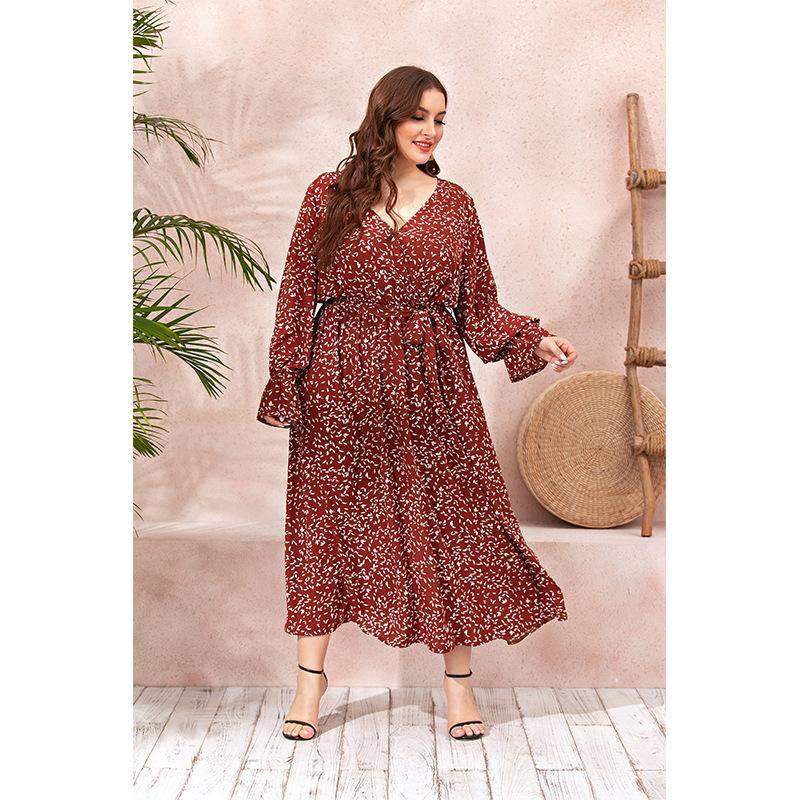 Повседневные платья свободные длинные платья женские рукава цветочные плюс размер осенью