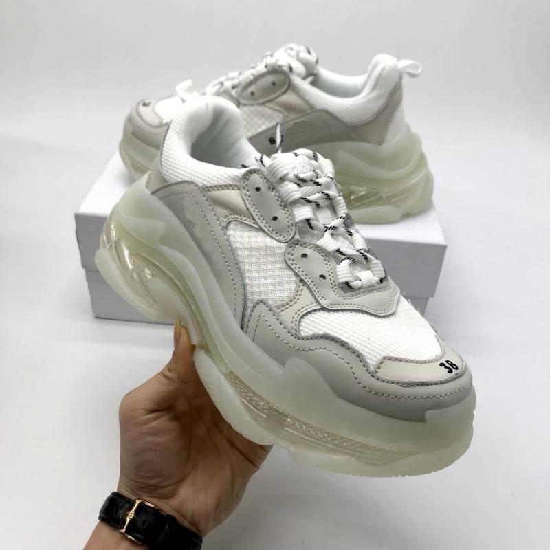 2019 Париж Тройной S Очистить дно Дизайнерская обувь резиновые Low Top Sneakers Тройной S Мужчины s и женщин папа платформы Спортивные тренажеры Обувь 36-45